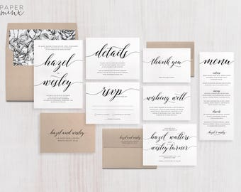 Wedding Invitation Suite | Calligraphy Invitation | Black and White Invitation | Modern Wedding Invitation | Printed Wedding Suite | Hazel