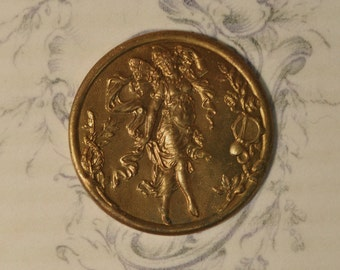 Vintage French Fairy Dancing Nymph Medal Pendant Raw Brass Gold Toned Flat Back 1 Piece 66J