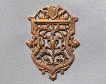 Vintage French Filigree Shield Pendant or Charm Finding 1 Piece Made in France 357J