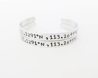 Personalized Coordinates Bracelet // Custom Hand Stamped Cuff + Location Bangle + Friendship Bracelet  + Longitude + Latitude + Copper