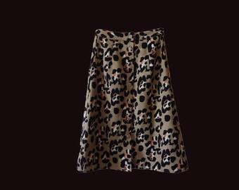 SALE Vintage leopard skirt, a line leopard skirt, leopard midi skirt, buttoned midi skirt, 90s leopard skirt, leopard print grunge skirt XXS
