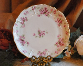 Vintage Porcelain Plate - Elite Works Limoges, France - French Country Cottage Decor - Delicate, Pretty and Very Collectible - Shabby Chic