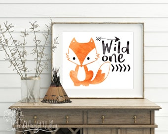 8x10 11x14 DIGITAL Wild One Print, fox Print, fox nursery art, woodland nursery, fox nursery decor, fox wall art, fox art, woodland animals