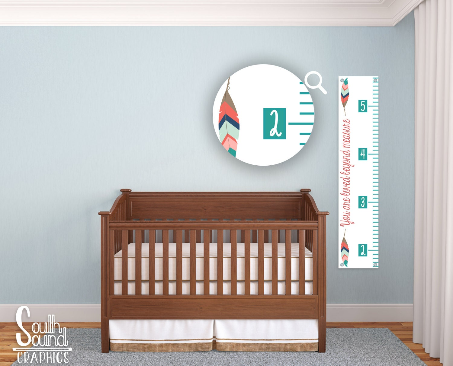 Growth chart for girls kids room wall decor feathers for Growth chart for kids room