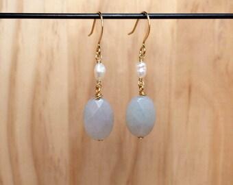 Gray Oval & Pearl Earrings