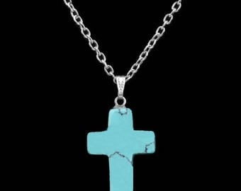 Turquoise Cross Necklace- Silver Necklace- Link Chain- Blue Cross Pendant