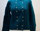 Vintage 1980s Emerald Green Knitted Jumper  Cardigan with Cream Flower Buttons  Sweater Knitwear Pullover Turquoise Winter Warm Wooly Wool