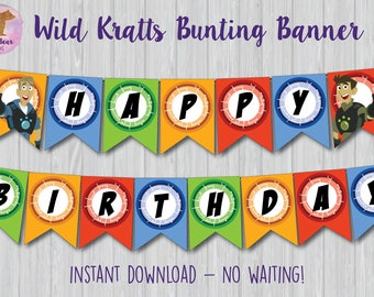 Wild Kratts Banner, Wild Kratts Bunting Banner, Wild Kratts Party Decoration, Wild Kratts Party Banner, Wild Kratts Birthday Sign