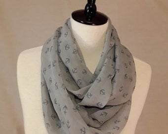 Grey Chiffon Scarf (Nautical Anchor Print in Two Available Styles)