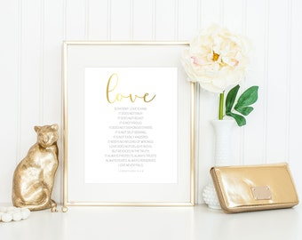 Real Foil Print // Love is Patient, Love is Kind // 1 Corinthians 13:4-8 // Frame Optional // 5x7, 8x10 // Decor //Gift