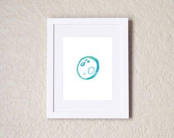 Moon, Moon Print, Blue Moon, Watercolor Moon, Moon Art, Moon Art Print, Space Nursery, Moon Nursery, Moon Wall Art, Moon Wall Decor, Print