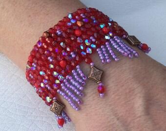 Woven in facet Beads Bracelet