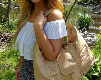 Leather Oversized Shoulder Bag // Camel Leather Top Handle Bag
