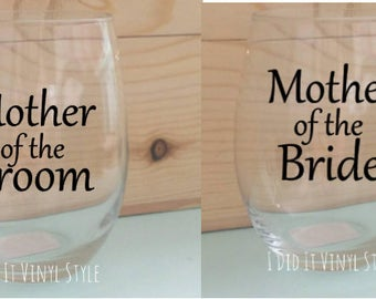 Set of 2 Mother of the Bride Mother of Groom Set Wine glass.Stemless wine glass- Mother of the Bride Gifts- - Gifts for her- Wedding favors