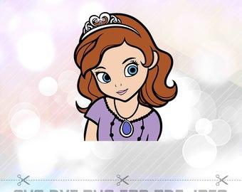 SVG Sophia el primer Disney princesa capas cortar archivo Disney dibujos animados partido decoraciones Cricut diseños Silhouette Cameo plantilla Scrapbooking