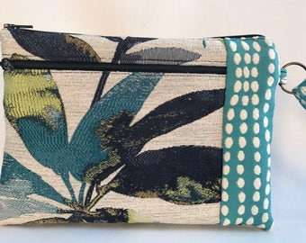 Large Wristlet Wallet, iPhone Wristlet, Large Cell Phone Purse, 3 Zipper Wallet, Fabric Clutch Bag with Strap, Gift for Her