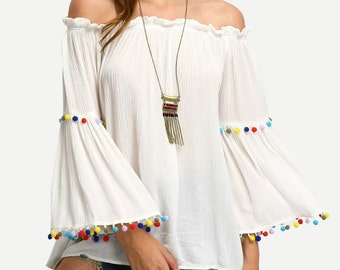 BOHO HEROINE FASHIONS:  White Off-The-Shoulder Top w/Colored Pom-Pom Trim, Bell Sleeves