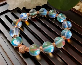 12mm Mystic Angel Aura Quartz/Rainbow Aura Quartz Yoga Mala Beaded Bracelet. Healing Natural Gemstone Bracelet. Wrist Mala.Stretch Bracelet.