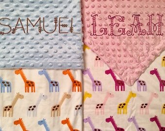 Baby Blanket Personalized with Giraffes - Embroidered - coupon details below