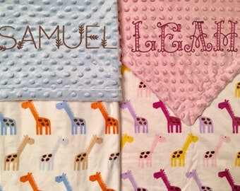 5% off! Baby Blanket Personalized with Giraffes - Embroidered - coupon details below