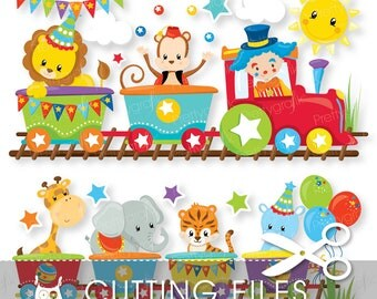 Circus party train  files, svg, dxf, pdf, eps included - Circus cutting files for cricut and cameo - Cutting Files SVG - CT854