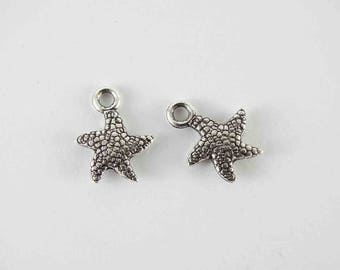 Starfish charm mini charms small charms tibetan silver starfish underwater charms metal charms silver tone starfish seaside charms sea charm