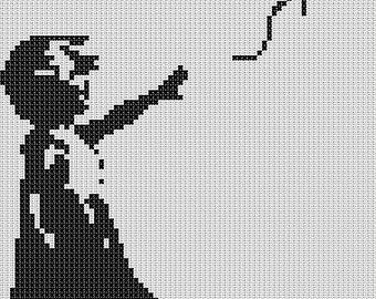 Banksy - Girl with a Baloon - Cross Stitch Pattern - Funny Modern Cross Stitch - 78x120 stitches - 14x21 cm