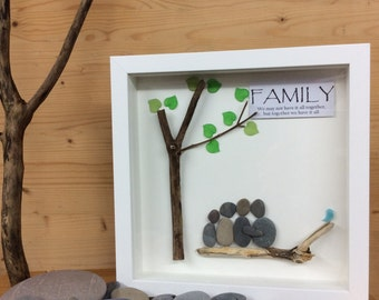 Pebble Art Family gift, family of four, fathers day gift, Christmas gift for family, birthday gift, wedding anniversary gift, mothers day