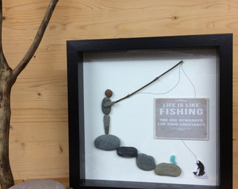 PebbleArt Fishing, Fathers Day Gift, gift for him, gift for her, fishing art, unique gift, love fishing,