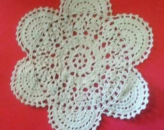 Vintage Round Ecru Cotton Crotched Doily
