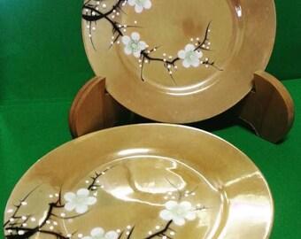 Vintage Japanese Lustreware Plates with Blossom Design