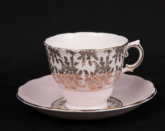 Pretty Pink Royal Vale Bone China Teacup and Saucer
