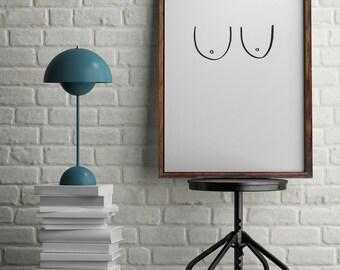 Hand Drawn Boobies - Fun Modern Wall Art Print Unframed - Cheeky Urban Home Interior Style - A4 / A3 / Digital Poster