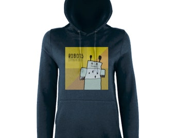 Women's Hooded Sweatshirt Graphic (ROBOTS) - Stringtheorist Official Merchandise