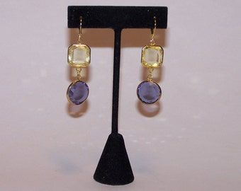 Yellow and purple colors Crystal EARRINGS