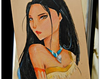Colored Pencil Disney drawing of Pocahontas