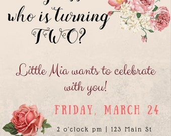 Floral Pink With Roses Girl's Birthday Party Invitation