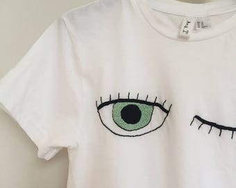 EYES - made to order - 100% cotton hand embroidered T-shirt