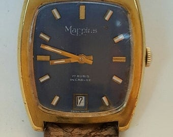 Vintage rectangular watch branded for MAPPINS circa 1980's---------SERVICED-----