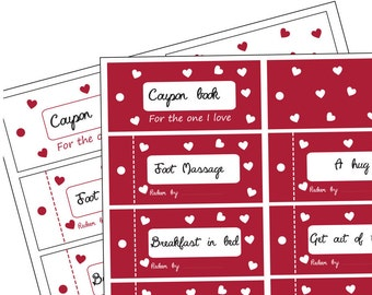 Instant download: valentine coupon book PDF, printable love coupons, romantic gift