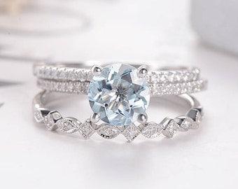 Birthstone White Gold Bridal Set Aquamarine Engagement Ring Diamond Art Deco Eternity Pave Dainty Wedding Band Stacking Anniversary 3pcs
