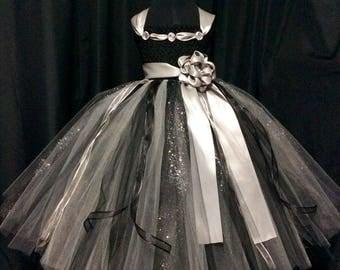 Black and silver flower girl dress, tulle flower girl dress, tutu dress for girls, tutu flower girl dress, wedding, black flower girl dress