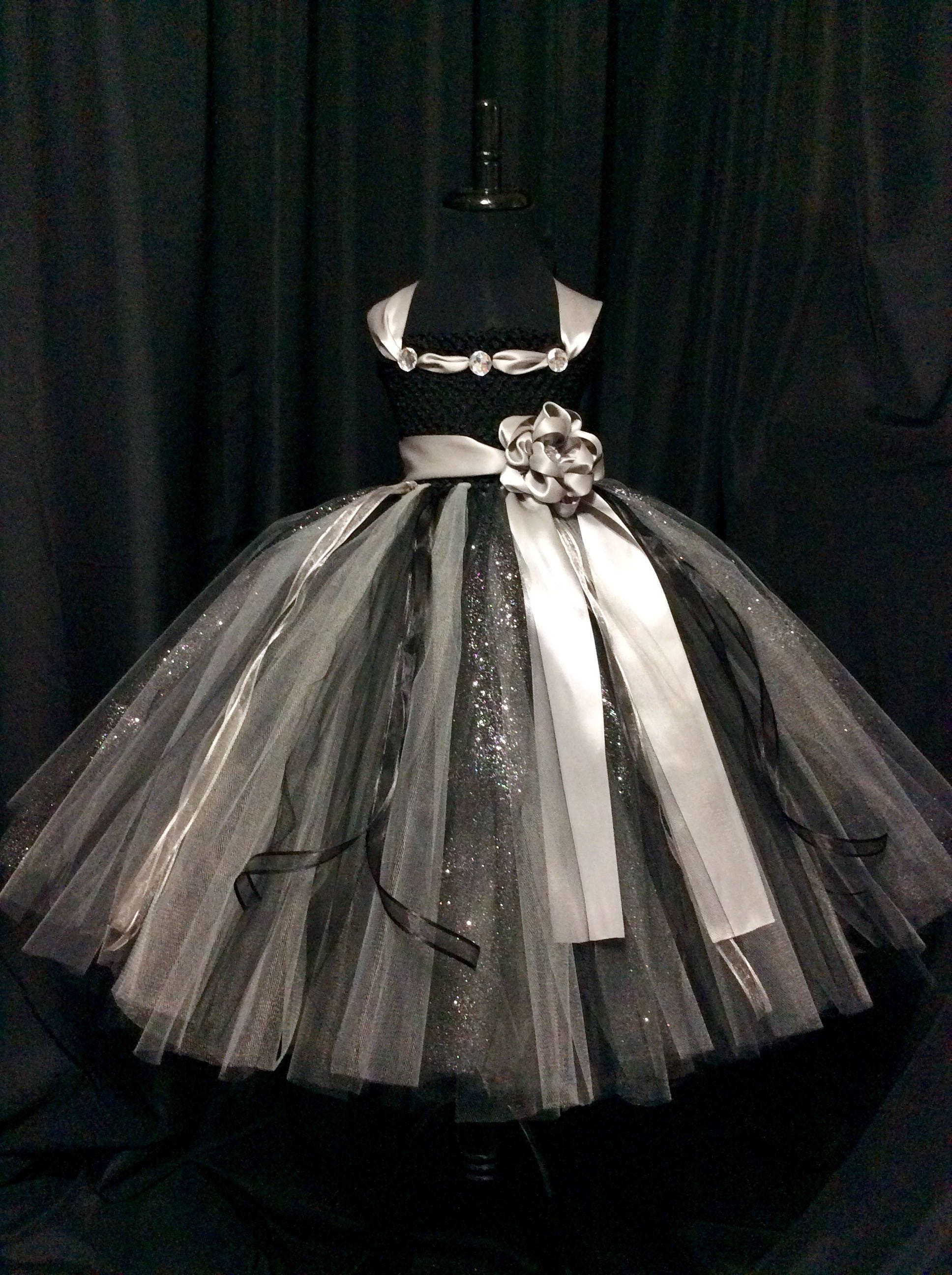 Black and silver flower girl dress tulle flower girl dress tutu dress for g