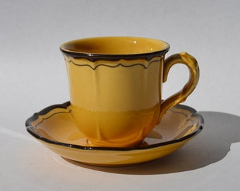 Metlox Poppy Trail Gold and Brown Cup and Saucer La Mancha Gold Mustard Yellow Brown Trim, Spanish Decor, Southwestern Cup and Saucer