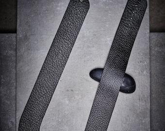 Black Leather Necklace/ Black Necklace/ Minimalist Leather Necklace/ Exrtavagant Leather Accessory/ A gift For Her Designed by PLIK