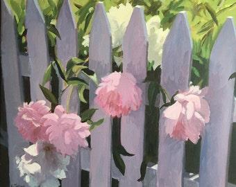 Peonies, acrylic on canvas, 18x22, unframed