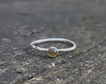 Beautiful Faceted Citrine & Eco Sterling Silver ring