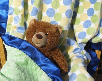 "baby blanket, 30"" x 36"", blue, green, yellow, polka dot, cuddly soft, plush minky fabric"