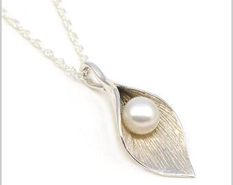 Sterling Silver and Pearl Cala Lily Necklace