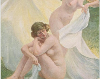 Nude Picnic | Invitation to Springtime | Antique French Postcard | Salon De Paris | Erotic Art | Bright Soft Colors |
